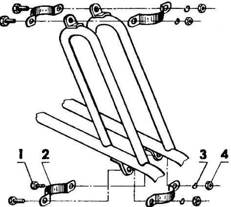 Элементы крепления подшипников вала рулевой колонки к раме трицикла