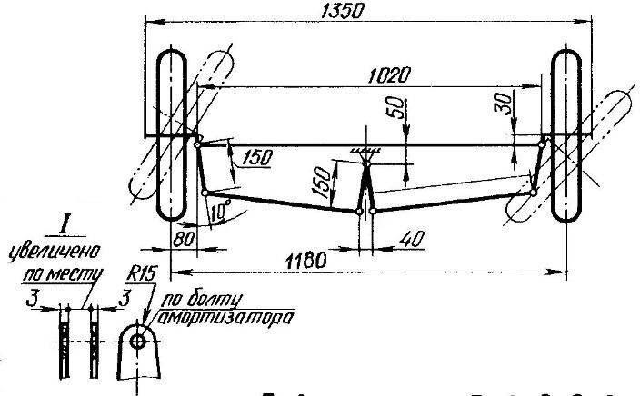 Схема рулевого управления трициклом (размеры даны в плоскости центральной рулевой сошки).