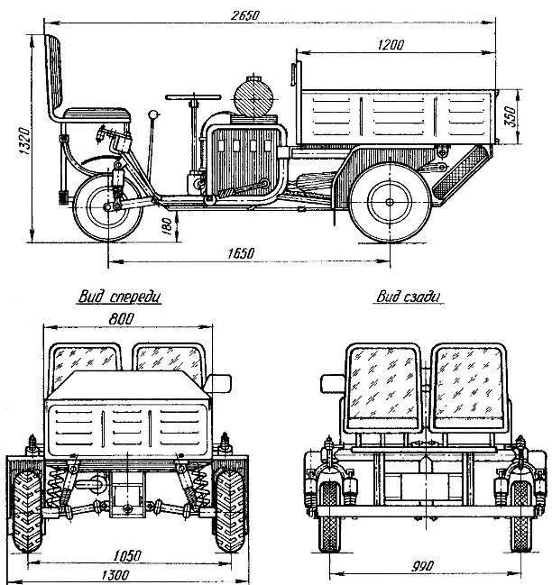 Мини-грузовик «Следопыт» (на виде спереди защитный поддон с запасным колесом не показан).