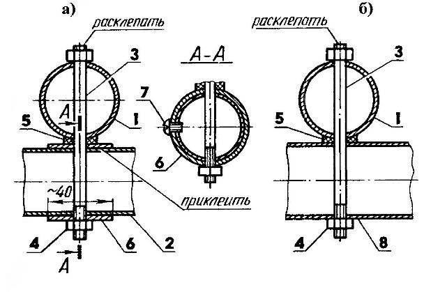 Соединение продольной балки с первой и второй (а) и третьей (б) поперечными