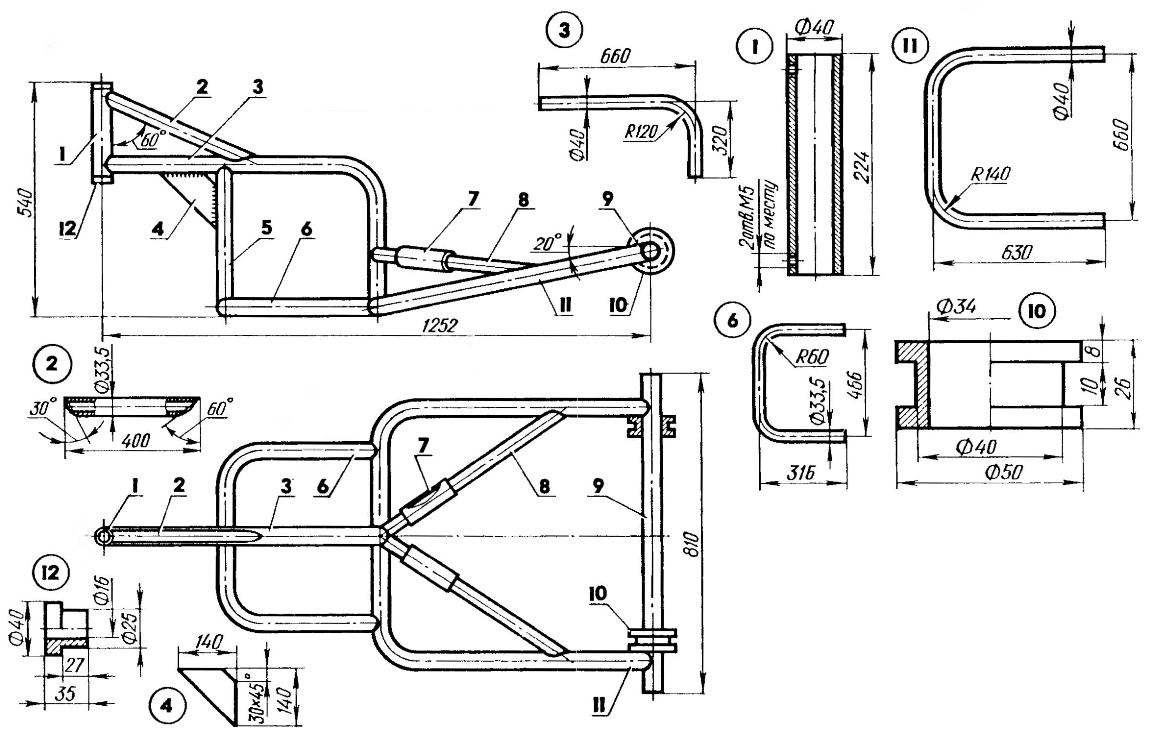 Frame truck (welded from lengths of steel pipes 33,5x3,5 and 40x7,5)