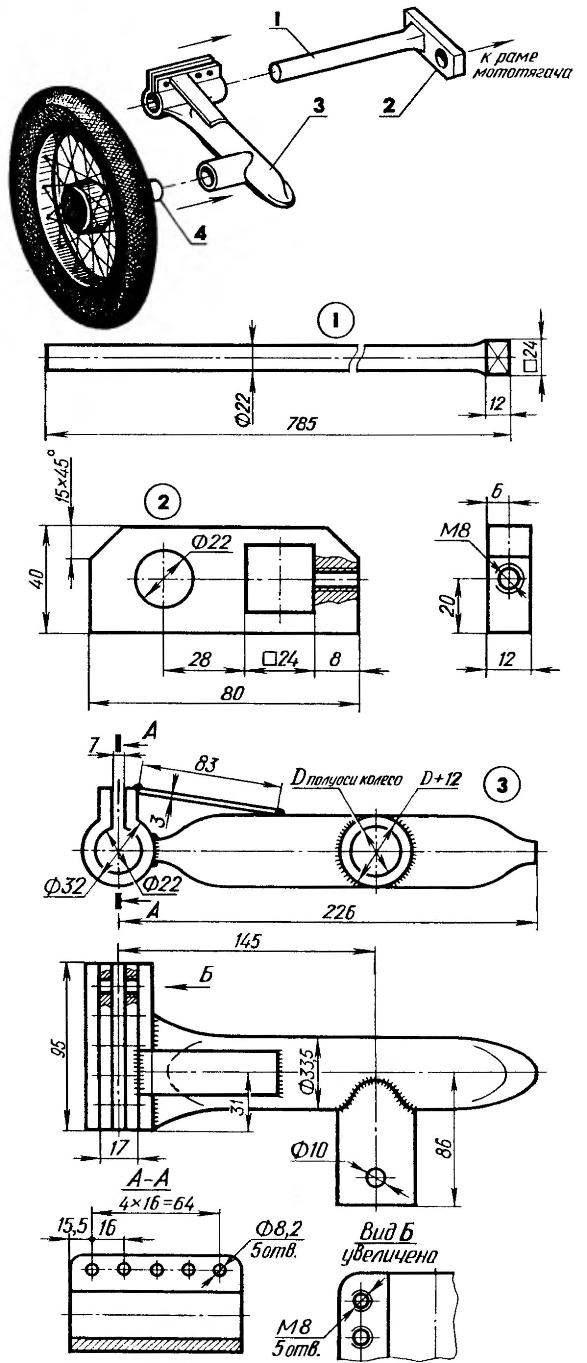 Torsion-arm suspension at the rear wheels