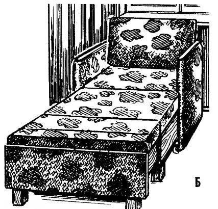 «Телескопическое» кресло-кровать: А —в сложенном состоянии (кресло); Б — в раздвинутом состоянии (кровать).