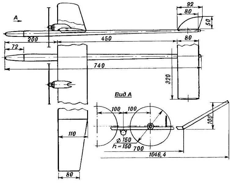 Двухдвигательная cвоболнолетающая модель электролета.