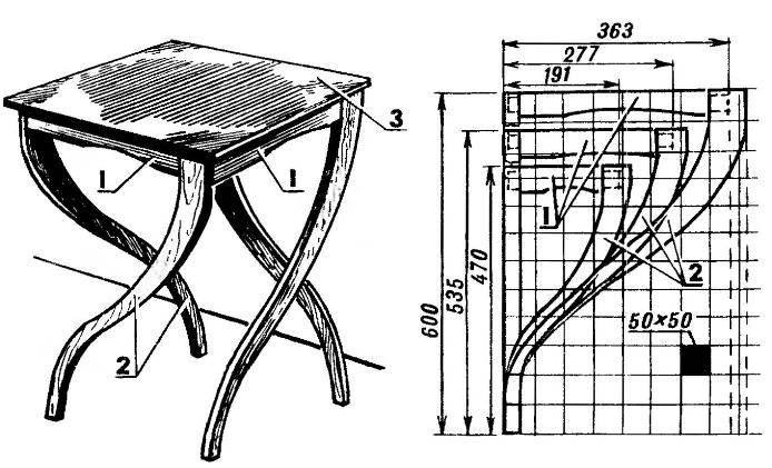 Столик и его основные детали (на сетке показаны три типоразмера)