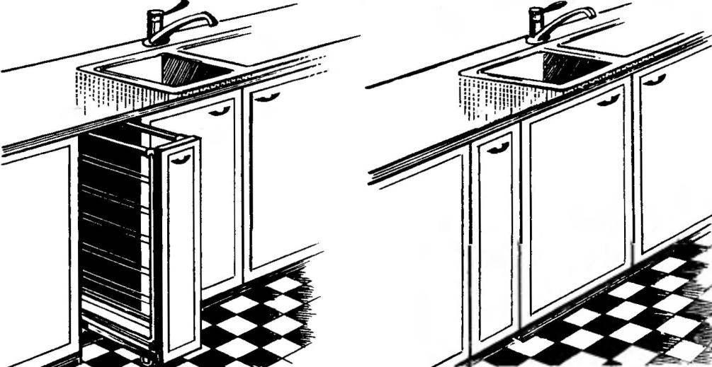 Выкатная «книжка»-сушилка под столешницей кухонного гарнитура