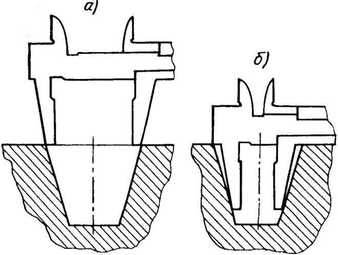 Рис.З. Положение губок штангенциркуля при измерении конусности отверстия