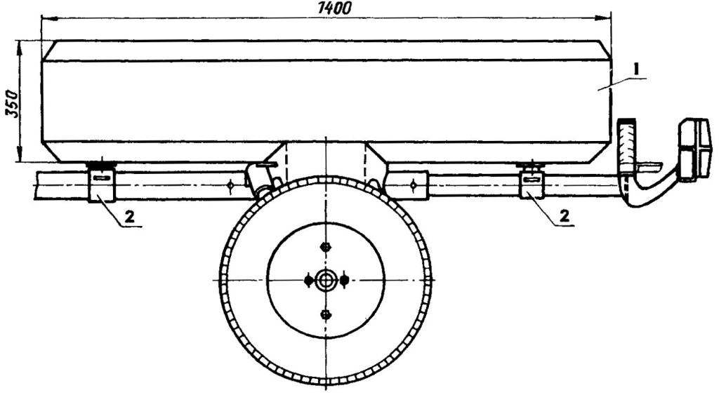 Установка кузова (левое крыло прицепа условно не показано)