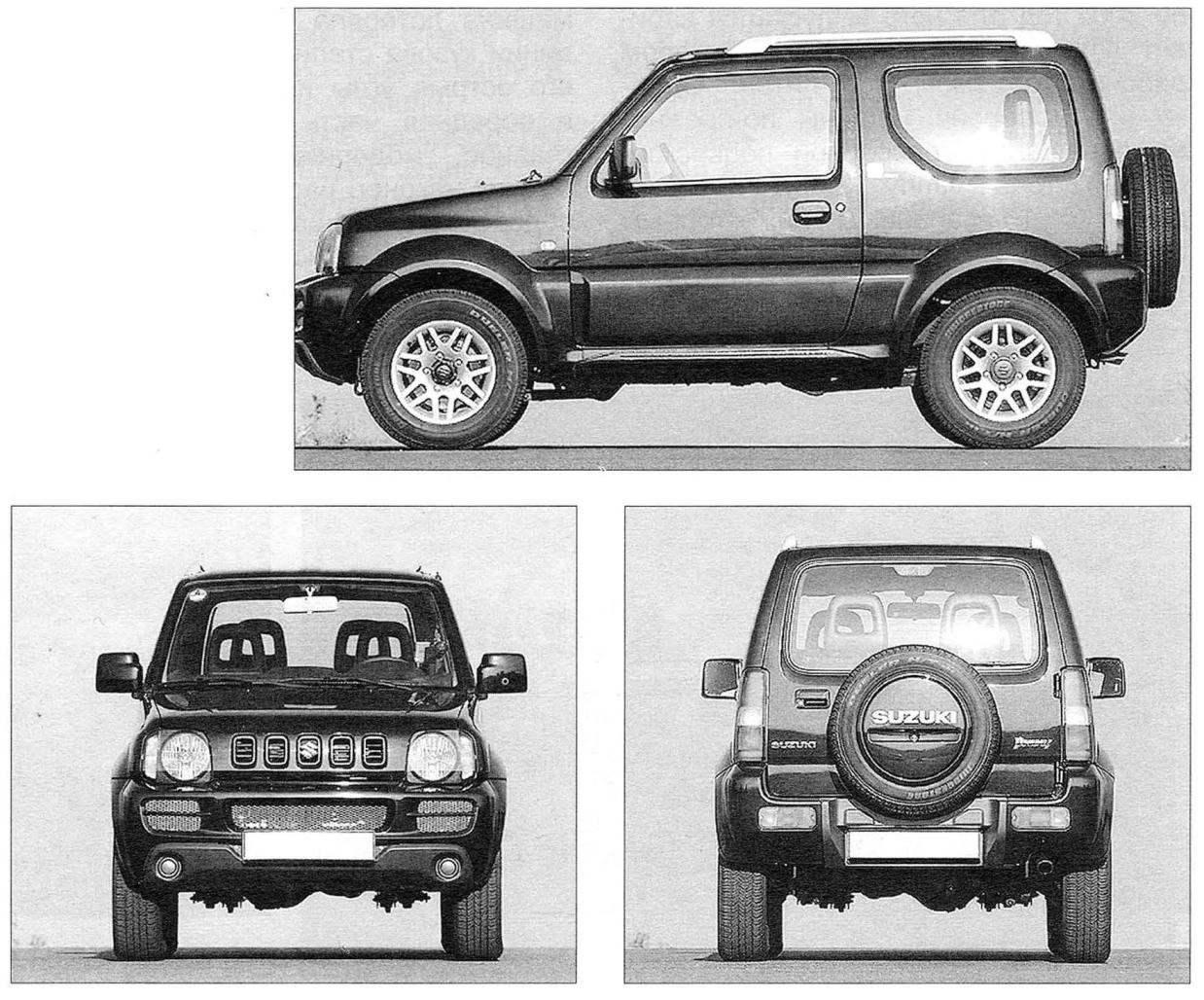 Мини-джип Suzuki Jimny (вид сбоку, спереди и сзади)
