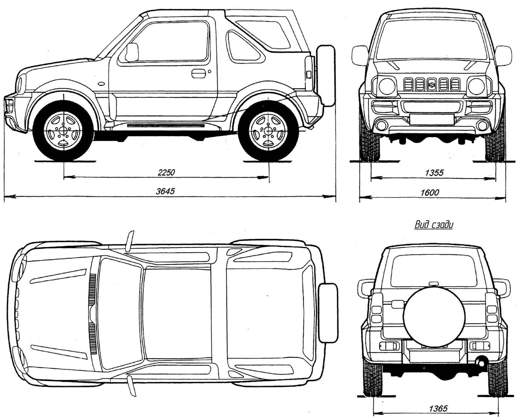 Геометрическая схема Suzuki Jimny Cabrio с кузовом типа «кабриолет»