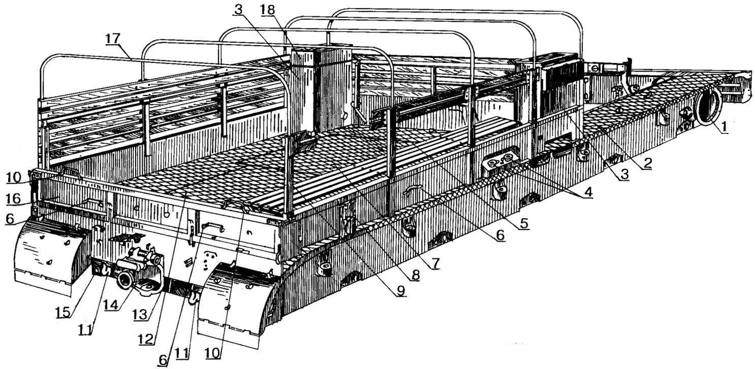 Рама тягача с кузовом (вид сзади справа)