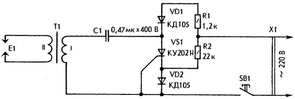 Принципиальная электрическая схема зажигалки