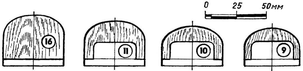 Шаблоны переборок корпуса (номера деталей соответствуют позициям рисунка 2)