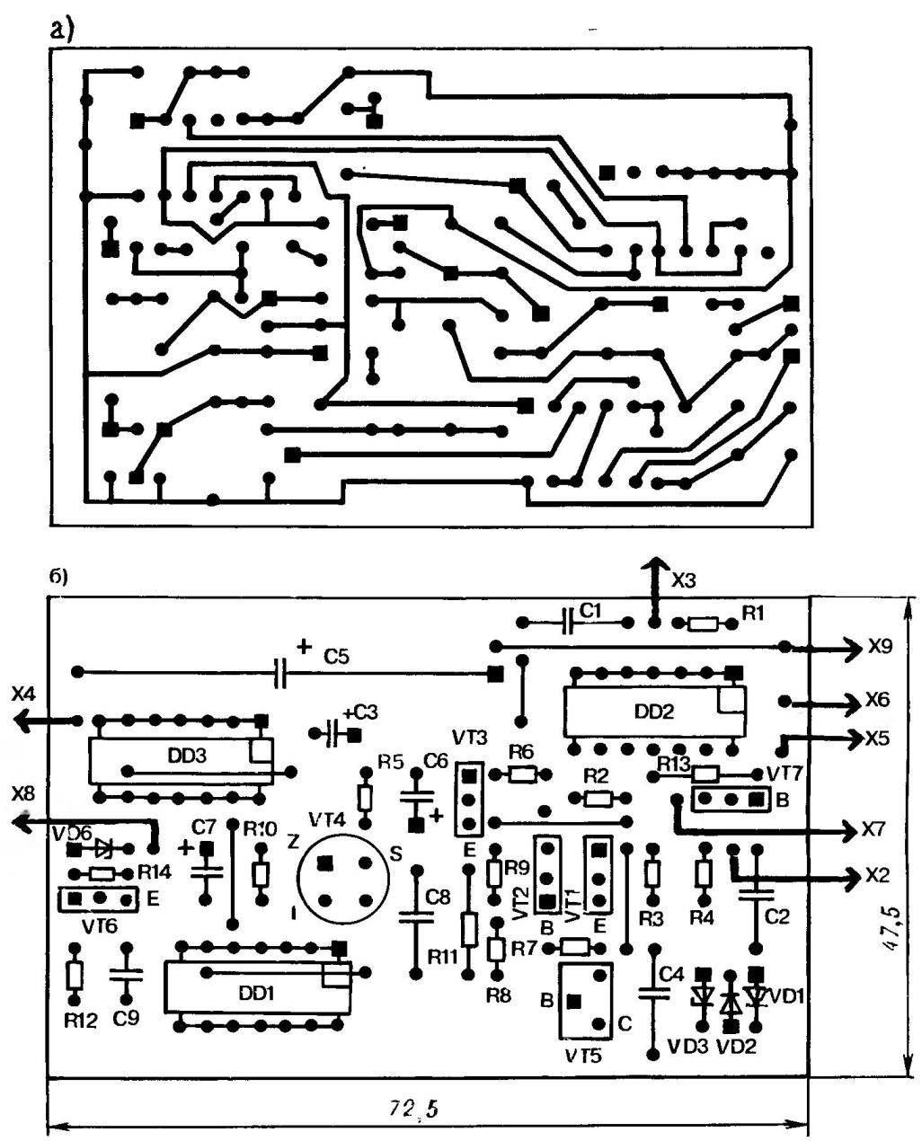 Топология печатной платы (а) и расположение деталей (б) при монтаже