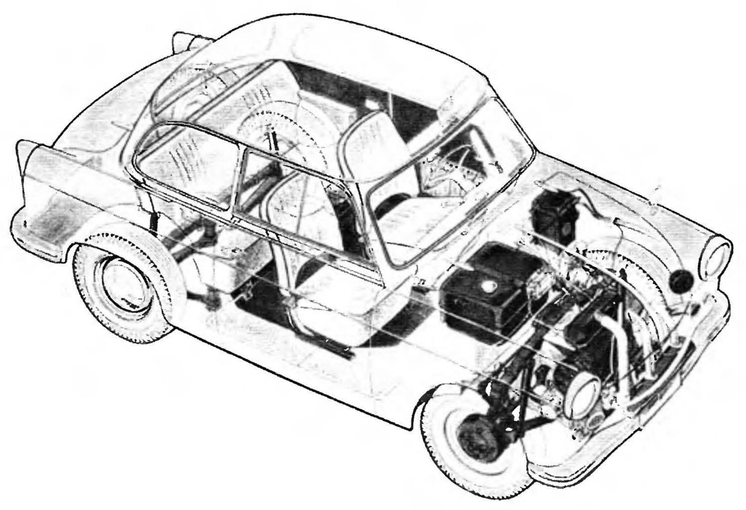 Компоновка автомобиля Trabant Р601