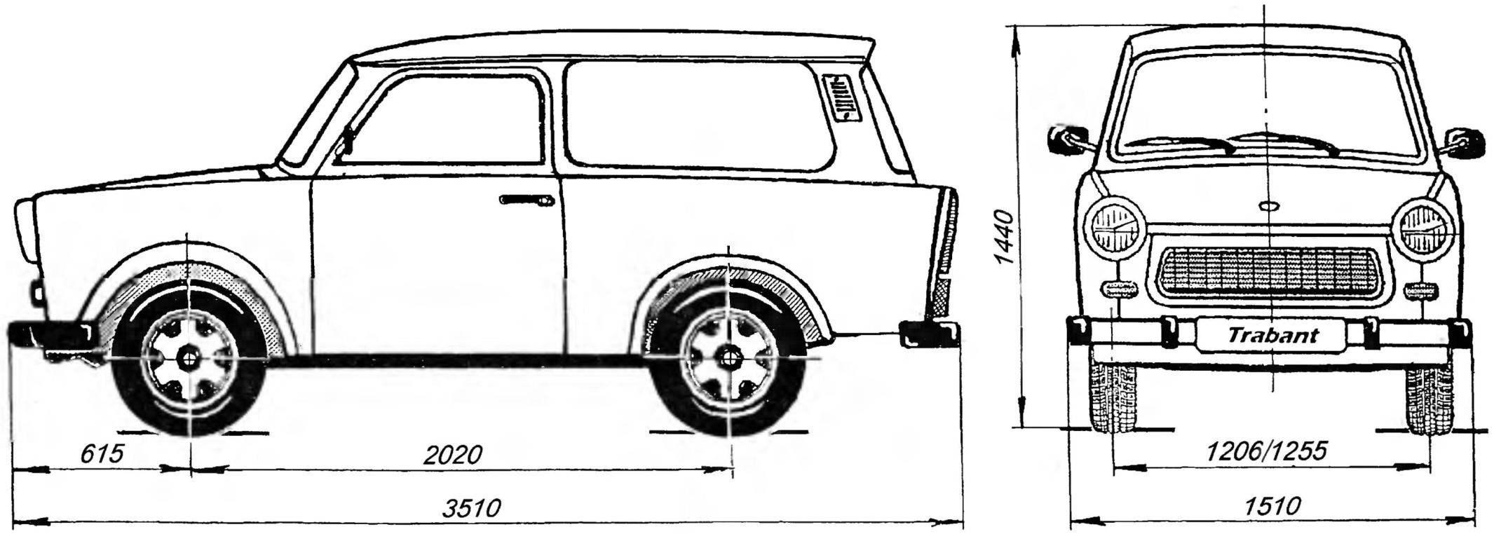 Общий вид трёхдверного автомобиля Trabant Р601 Kombi (универсал)