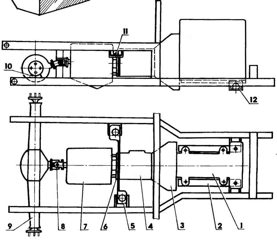 Компоновка силовой установки и трансмиссии (некоторые элементы рамы условно не показаны)