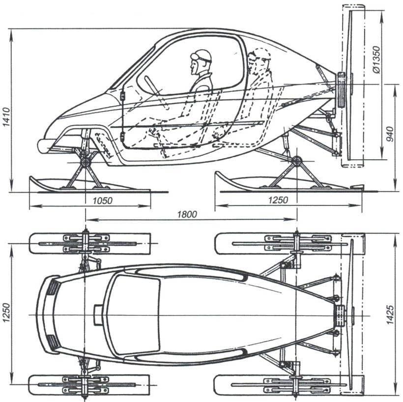 Рис. 1. Двухместные аэросани «Шквал-3»