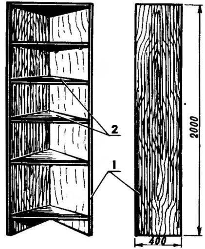 Угловой шкаф-этажерка