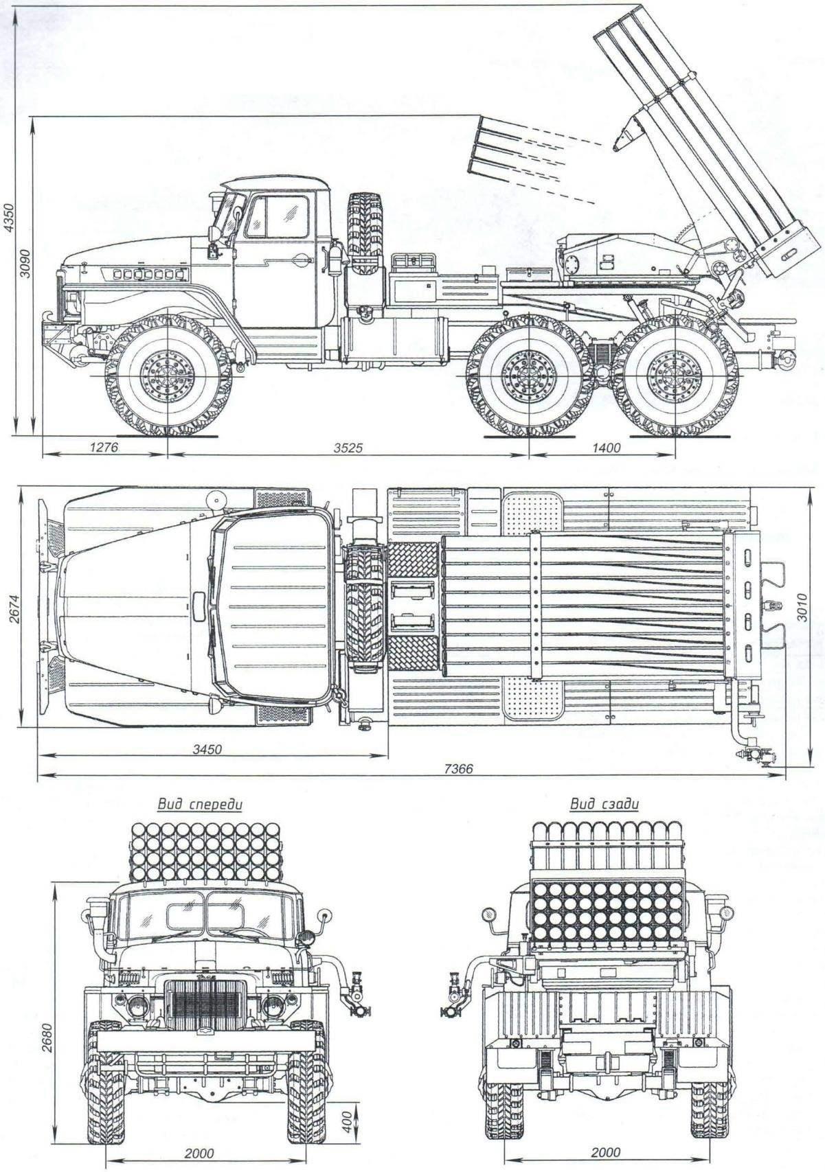БМ-21 на шасси Урал-375Д