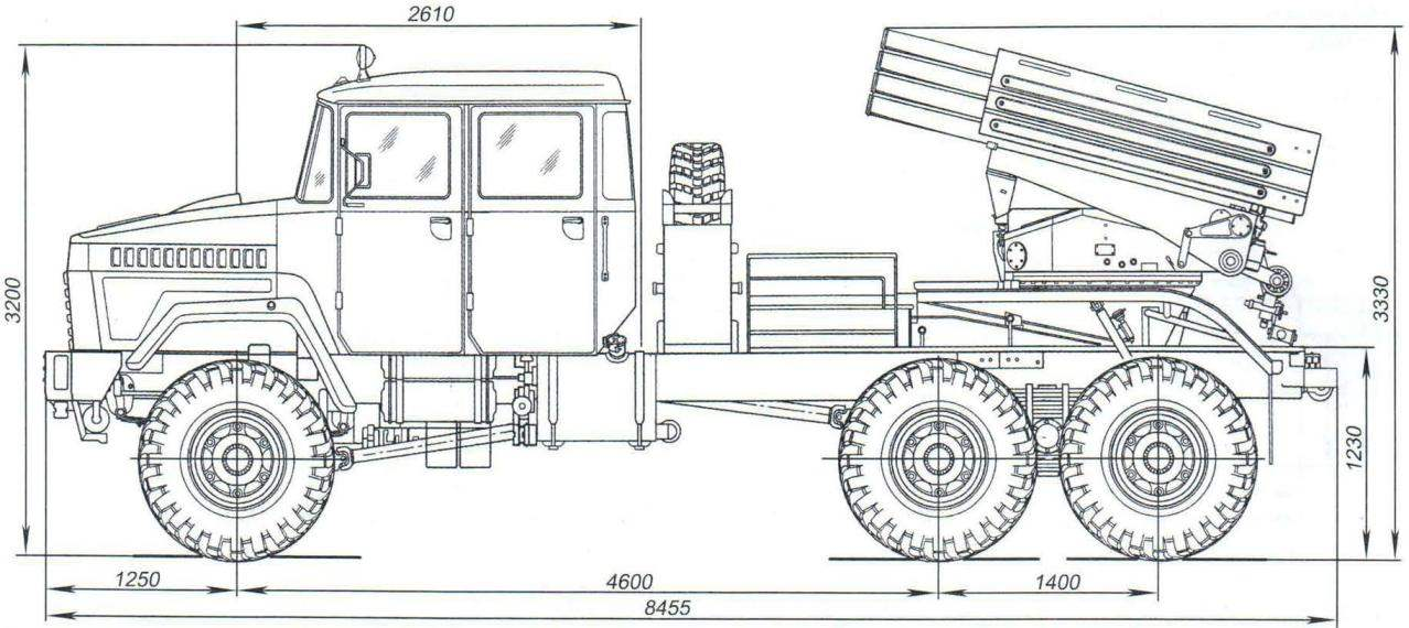 БМ-21У на шасси автомобиля КрАЗ