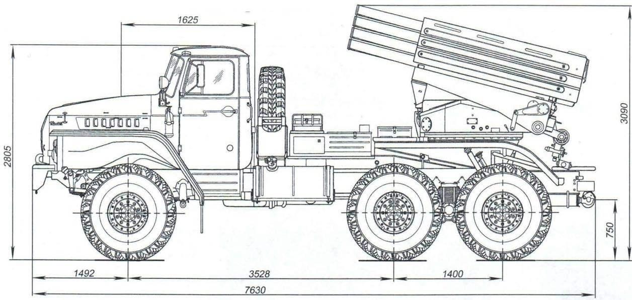 БМ-21-1 на шасси автомобиля Урал-4320