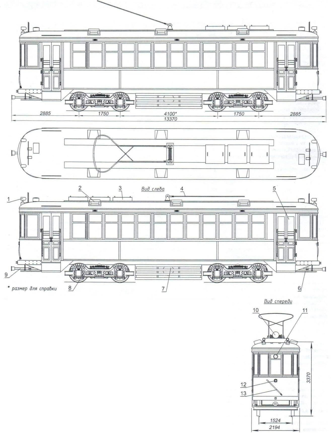 Общий вид и основные размеры моторного трамвайного вагона типа КМ