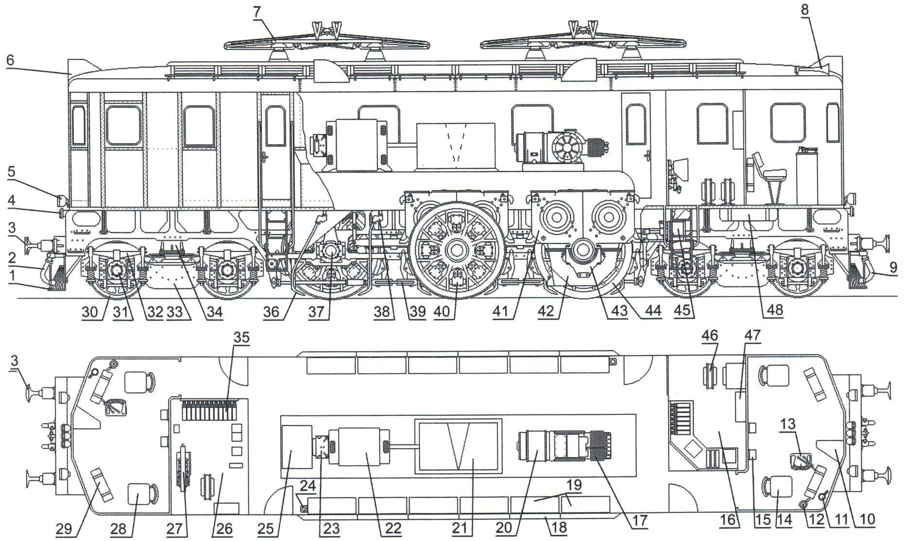 Расположение оборудования в электровозе ПБ21