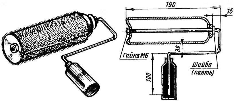 Использованный аэрозольный баллончик, пузырек из-под канцелярского клея, металлический пруток да лоскут цигейки — вот все, что потребовалось для малярного валика
