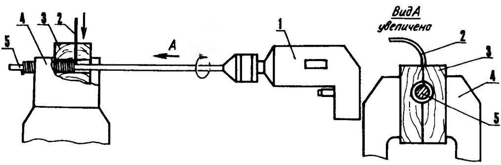 Рис. 4. Намотка спирали электронагревателя