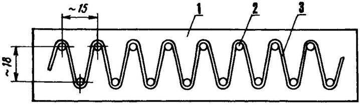 Рис. 5. Формирование нагревателя-«змейки» (размеры — исходя из местных условий и мощности электрокамелька)