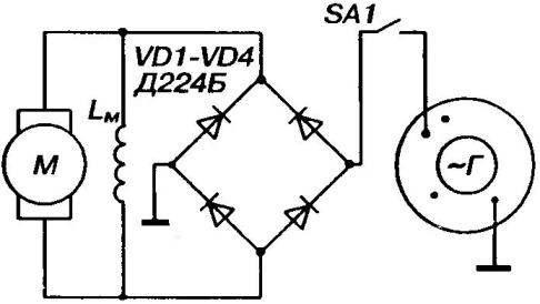 Принципиальная электрическая схема питания подкапотного вентилятора