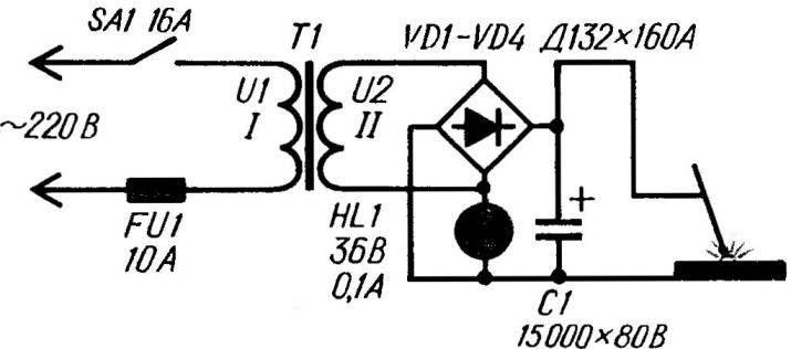 Рис. 2. Принципиальная электрическая схема сварочного аппарата постоянного тока
