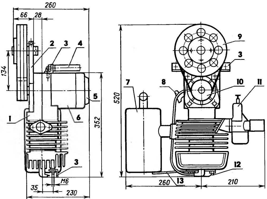 Силовая установка (воздушный винт и бензобак условно не показаны)