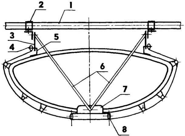 Рис. 6. Схема крепления поперечной балки к фальшборту и кильсону