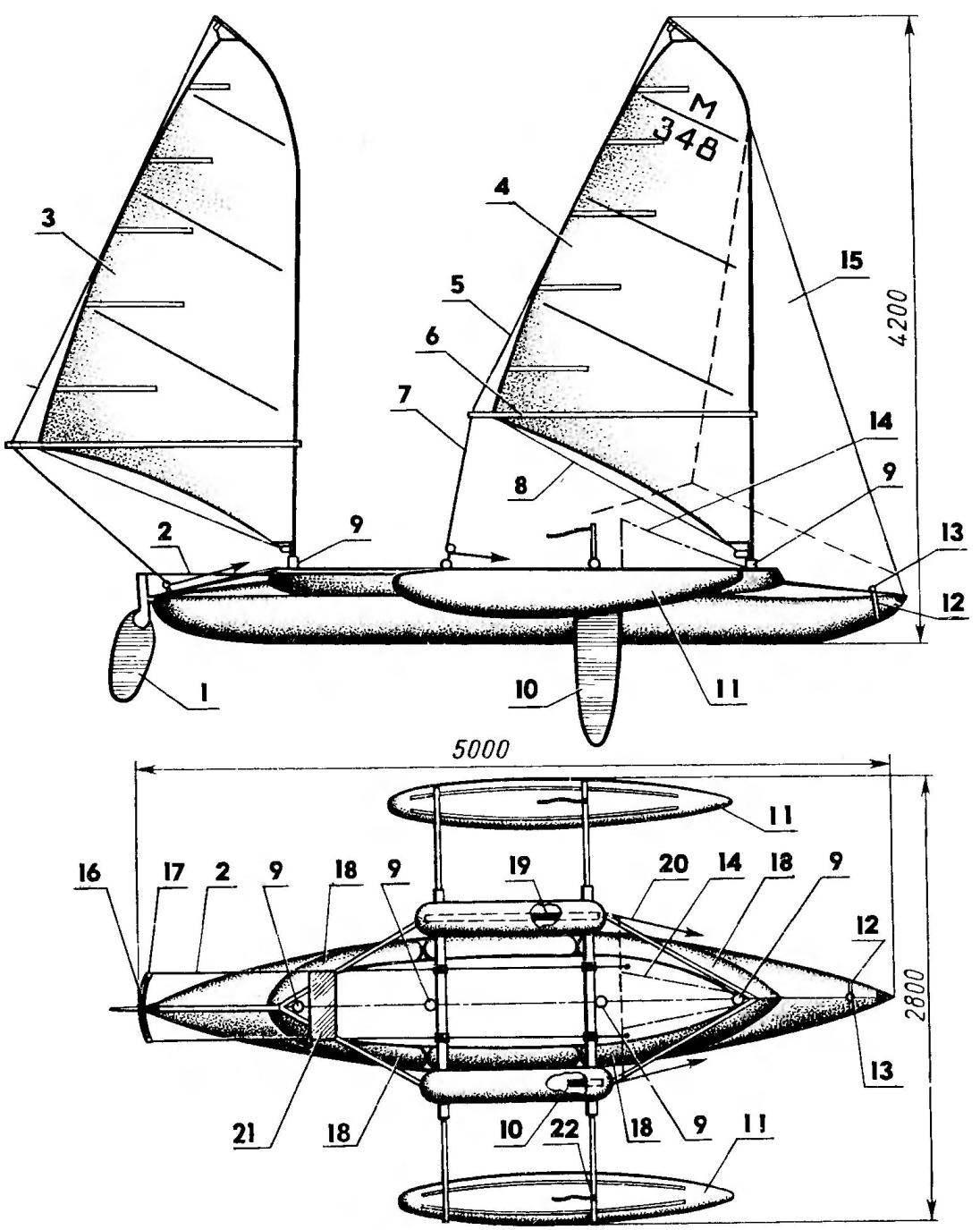 Рис. 1. Шхуна-тримаран на базе байдарки «Таймень-2»