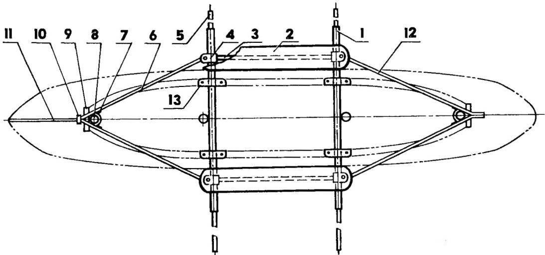 Рис. 2. Силовая рама (вид сверху)