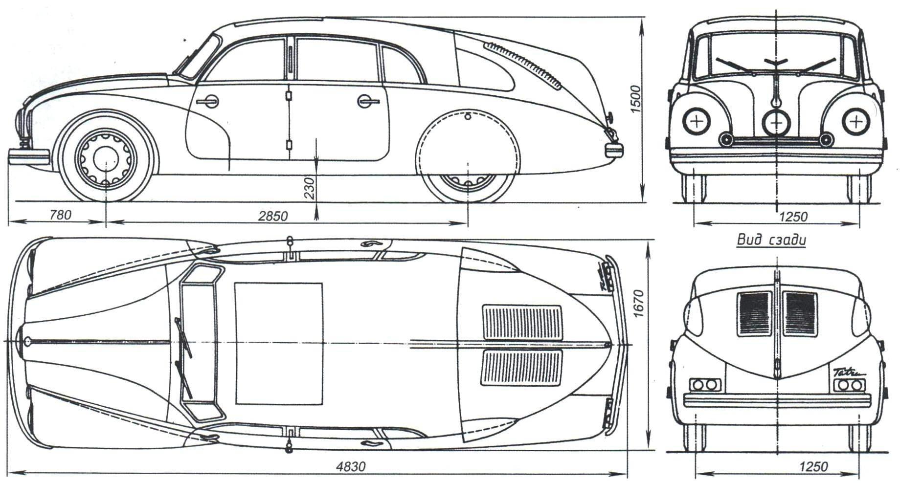 Геометрическая схема и основные размеры автомобиля Tatra-87