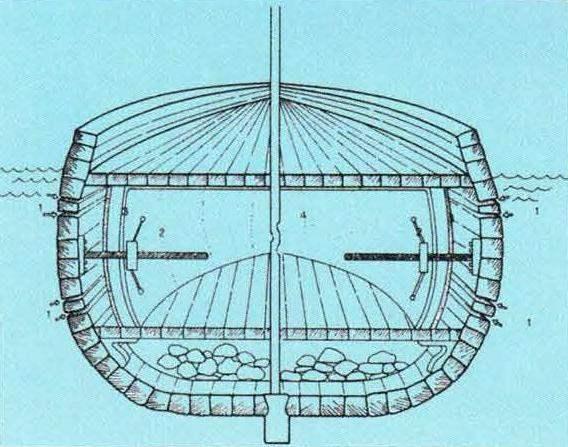 Проект подводного судна У. Борна (Англия, 1578 г.). Тип конструкции - полуторакорпусный. Двигатель: мускульная сила, вёсла. Реализован не был
