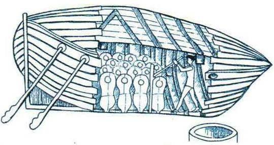 Проект подводного судна Симонса (Англия, 1747 г.). Тип конструкции - однокорпусный. Двигатель: мускульная сила, вёсла. Вооружение: неизвестно. Идея «балластных цистерн» такого типа впервые предложена во Франции Борелли в 1680 г. Проект не реализован