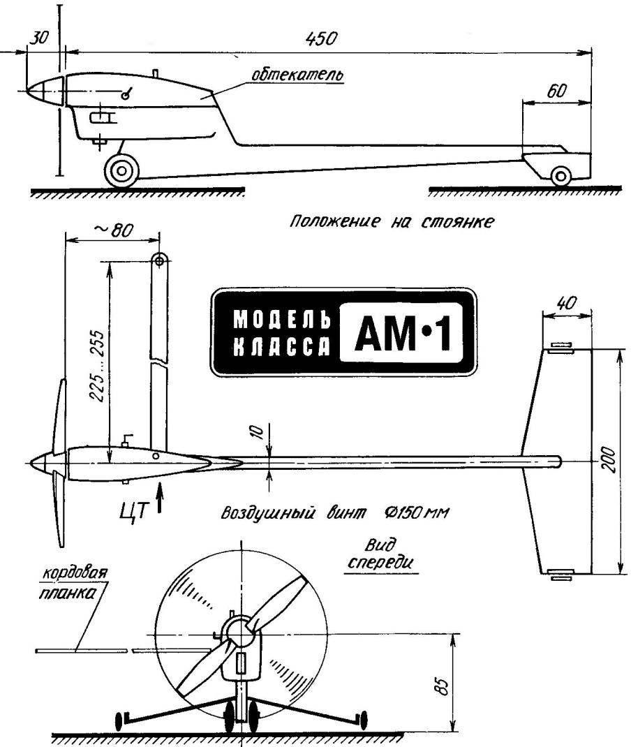 Основные параметры кордовой скоростной автомодели класса АМ-1 с воздушным винтом и двигателем внутреннего сгорания рабочим объемом до 1,5 см3