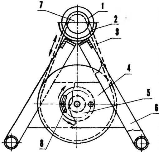 Схема механизма натяжения цепи