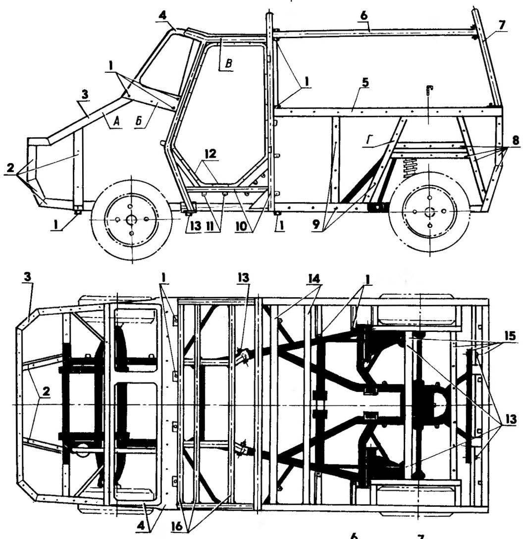 Элементы кузова и точки их соединения (на виде сверху каркас тента условно не показан)