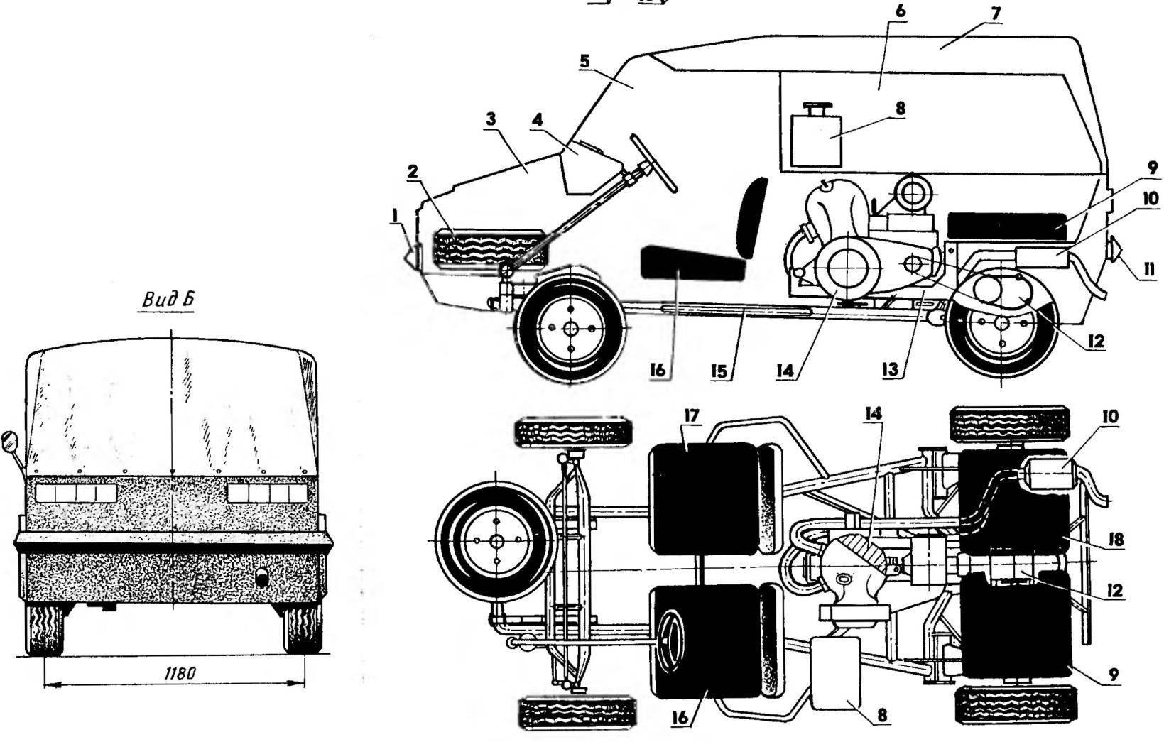 Компоновка автомобиля (на виде сверху кузов условно не показан)