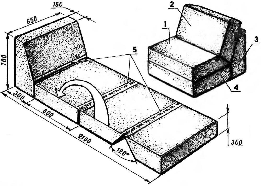 Кресло-лежак из четырех подушек