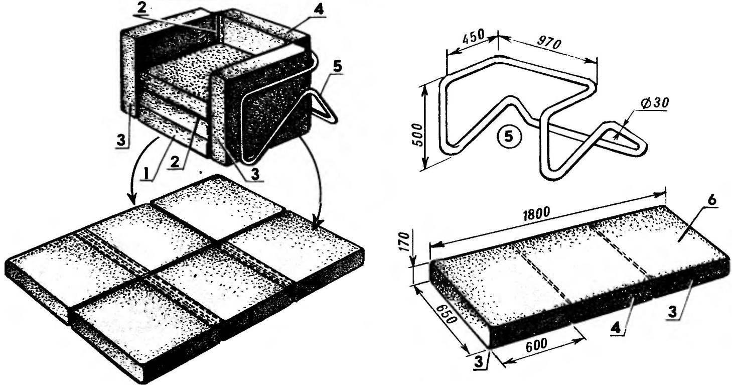 Кресло-лежак из шести подушек