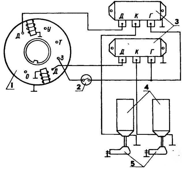 Монтажная электрическая схема подключения нового генератора 2-цилиндрового мотоцикла