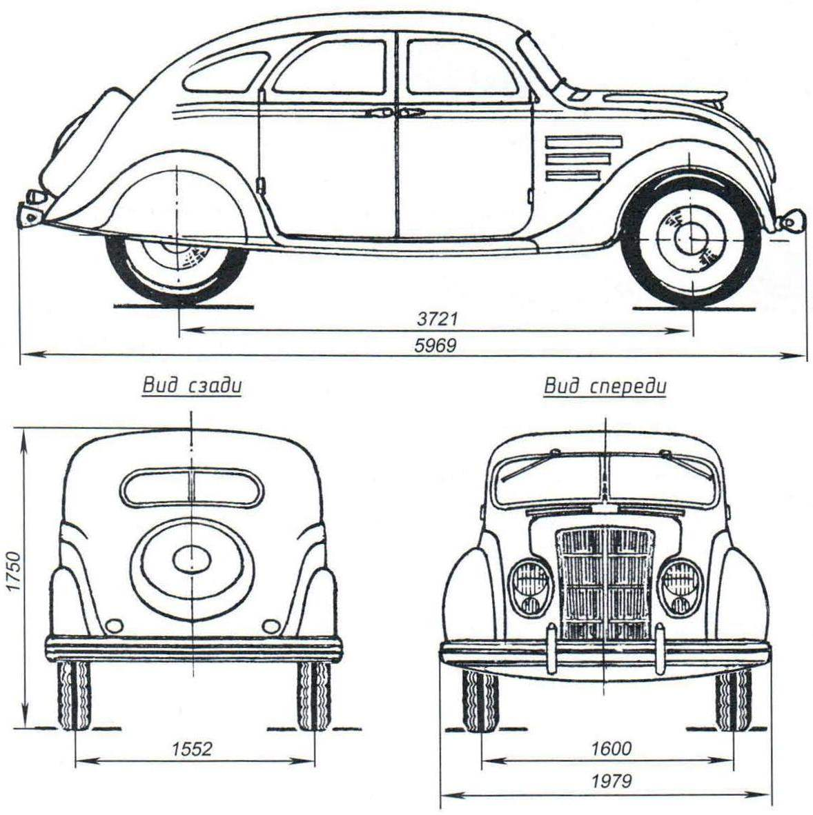 Основные размеры автомобиля Chrysler Airflow