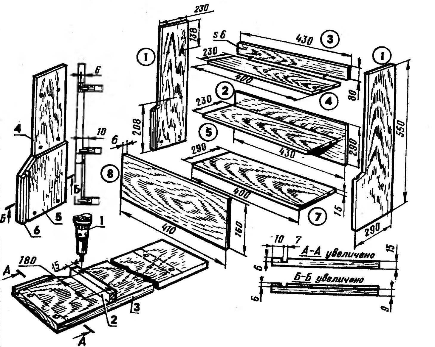 Подготовка отверстий боковины (сечения «А—А» и «Б—-Б» условно повернуты)
