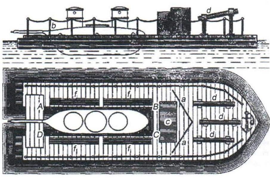 Плавбаза-плот для подводной лодки К. Шильдера